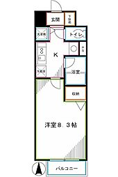 JR中央本線 国分寺駅 徒歩13分の賃貸マンション 1階1Kの間取り