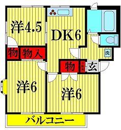 埼玉県越谷市東大沢3丁目の賃貸マンションの間取り