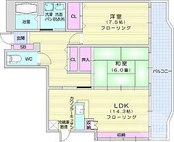 レガシー齋藤 1階2LDKの間取り