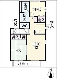 愛知県知多郡美浜町河和台3丁目の賃貸アパートの間取り