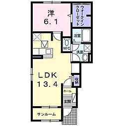 国分寺町アパート 1階1LDKの間取り