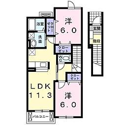 愛知県岡崎市欠町字金谷の賃貸アパートの間取り