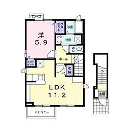 都営大江戸線 牛込柳町駅 徒歩6分の賃貸アパート 1階1LDKの間取り