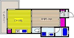 阪神本線 御影駅 徒歩5分の賃貸マンション 3階1DKの間取り
