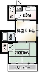 上ノ原荘[201号室]の間取り