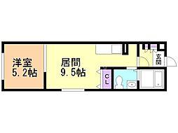 札幌市営南北線 北24条駅 徒歩8分の賃貸マンション 1階1LDKの間取り