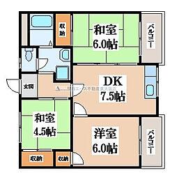 大阪府大東市氷野2丁目の賃貸マンションの間取り