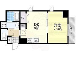 Osaka Metro堺筋線 北浜駅 徒歩7分の賃貸マンション 5階1DKの間取り