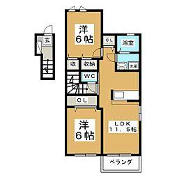 サンライズD[2階]の間取り