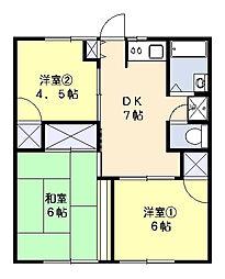 三橋ハイツB[101号室]の間取り