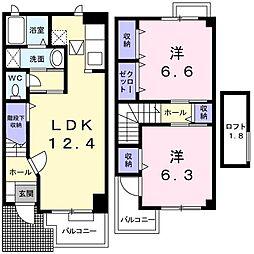 リバ−ジュ北島B[0102号室]の間取り