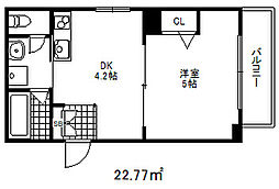 コウリュウマンション 2階1DKの間取り