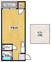 福岡県福岡市博多区住吉4丁目の賃貸アパートの間取り