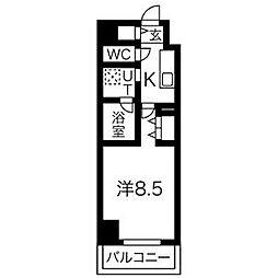 名鉄名古屋本線 名鉄名古屋駅 徒歩12分の賃貸マンション 12階1Kの間取り