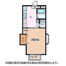長野県松本市小屋南1丁目の賃貸アパートの間取り
