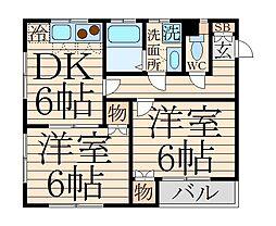 東京都中野区沼袋3丁目の賃貸アパートの間取り