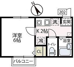 フィカーサ片倉[202号室]の間取り