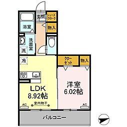 名古屋市営東山線 本陣駅 徒歩4分の賃貸アパート 2階1LDKの間取り