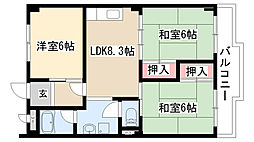 愛知県名古屋市緑区若田1丁目の賃貸マンションの間取り