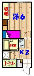 沖縄県沖縄市美里仲原町9番地の賃貸アパート 2階1Kの間取り