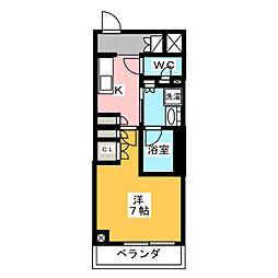 プラウドフラット菊川 4階1Kの間取り