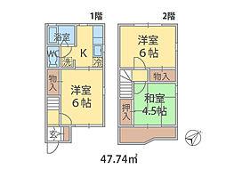 千葉県流山市東初石の賃貸アパートの間取り