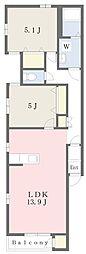 札幌市営東西線 ひばりが丘駅 徒歩11分の賃貸アパート 1階2LDKの間取り