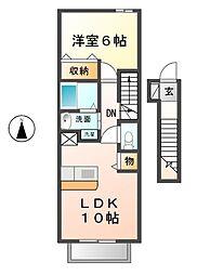 愛知県清須市清洲1の賃貸アパートの間取り