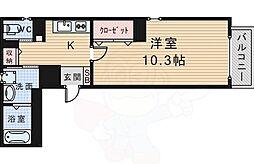 arriate北桜塚 4階1Kの間取り