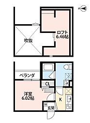 Osaka Metro千日前線 小路駅 徒歩3分の賃貸アパート 2階1Kの間取り
