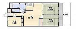 コーポ三上[1階]の間取り