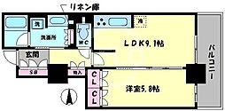 ブランズタワー・ウェリス心斎橋SOUTH 6階1LDKの間取り