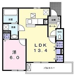 小田急江ノ島線 長後駅 バス15分 長坂上下車 徒歩3分の賃貸アパート 1階1LDKの間取り
