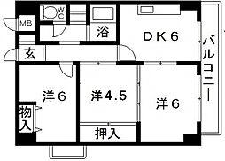 上三青山ハイツ[8階]の間取り