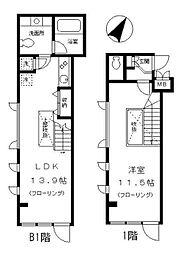 都営大江戸線 月島駅 徒歩2分の賃貸マンション 1階1LDKの間取り