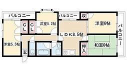 愛知県名古屋市守山区喜多山2丁目の賃貸マンションの間取り