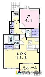 JR久大本線 御井駅 徒歩25分の賃貸アパート 1階1LDKの間取り