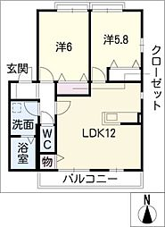 カーサ司[2階]の間取り