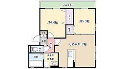 大阪府寝屋川市本町の賃貸アパートの間取り
