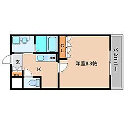 近鉄大阪線 五位堂駅 バス6分 馬見南6丁目下車 徒歩4分の賃貸マンション 2階1Kの間取り