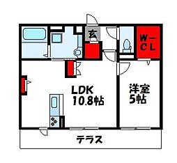 サンフィットハイツ十一号館 1階1LDKの間取り