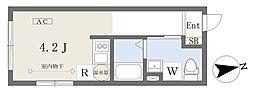 小田急小田原線 経堂駅 徒歩4分の賃貸マンション 4階ワンルームの間取り