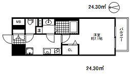 ファーストフィオーレ三宮イースト 4階1Kの間取り