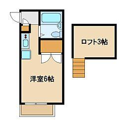 東京メトロ有楽町線 要町駅 徒歩13分の賃貸アパート 2階ワンルームの間取り