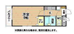 福岡県北九州市八幡西区藤原2丁目の賃貸アパートの間取り