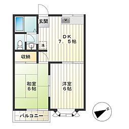 東京都調布市深大寺南町5丁目の賃貸アパートの間取り