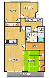 陽東2丁目 3SLDK マンション[3階]の間取り