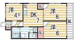 奈良田ハイツ[504号室]の間取り