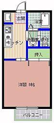 エストシャトーII 2階1Kの間取り