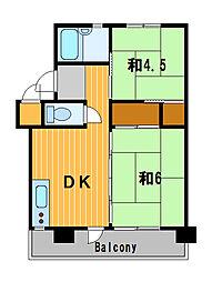 神奈川県横浜市鶴見区豊岡町の賃貸マンションの間取り